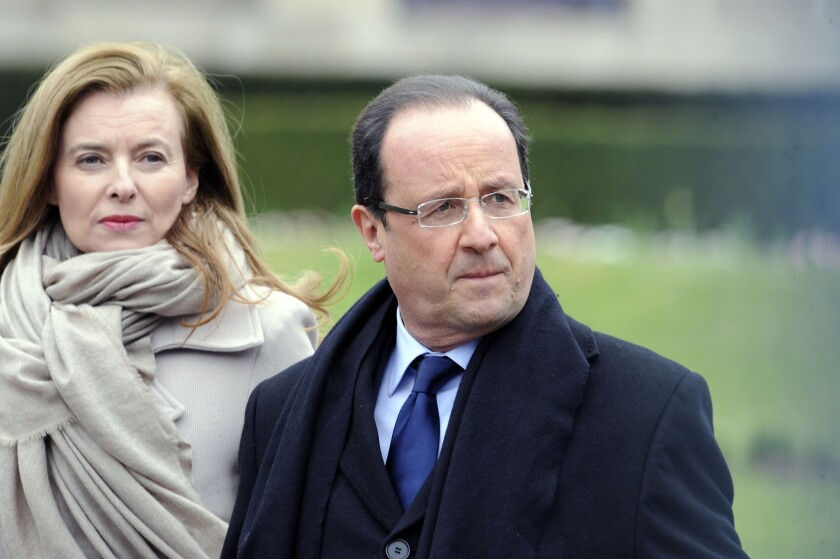 French President Francois Hollande and his partner, Valerie Trierweiler, in Tulle in April.