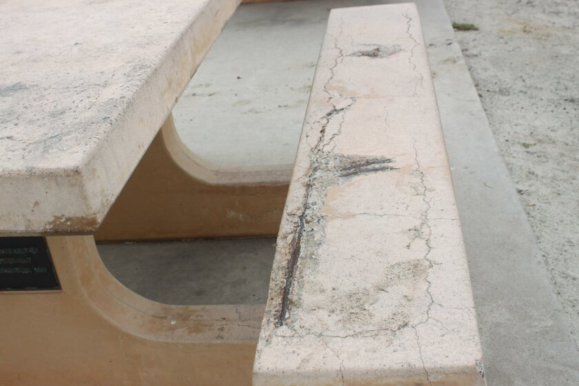 Some benches along Whale View Point are cracked or have exposed rebar.