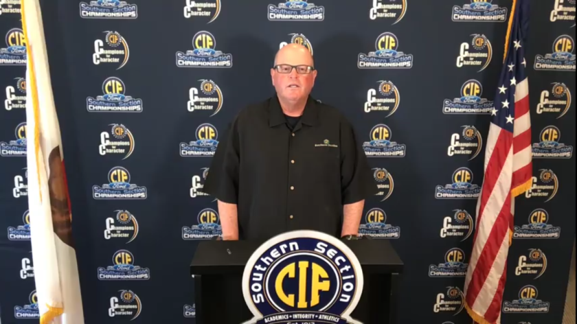 CIF Southern Section commissioner Rob Wigod speaks during a press conference Monday afternoon.
