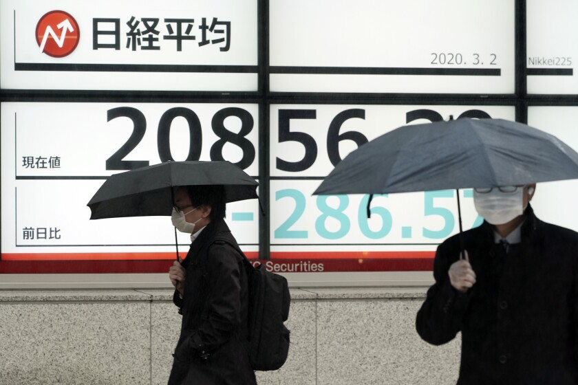 People walk past an electronic stock board showing Japan's Nikkei 225 index at a securities firm in Tokyo Monday, March 2, 2020. Share prices have charged back from their retreat last week, with mainland Chinese indexes gaining 3% as data showed progress in restoring factory output after weeks of disruptions from the viral outbreak. (AP Photo/Eugene Hoshiko)