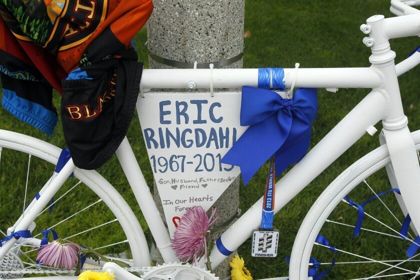 This is the ghost bike along El Camino Real on Tuesday just north of La Costa Avenue in Carlsbad, California.