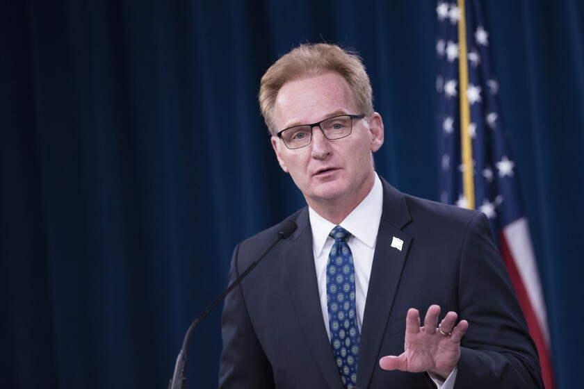 Acting Secretary of the Navy Thomas B. Modly briefs the press about the Navy's response to COVID-19, at the Pentagon, Washington, D.C., April 1, 2020.