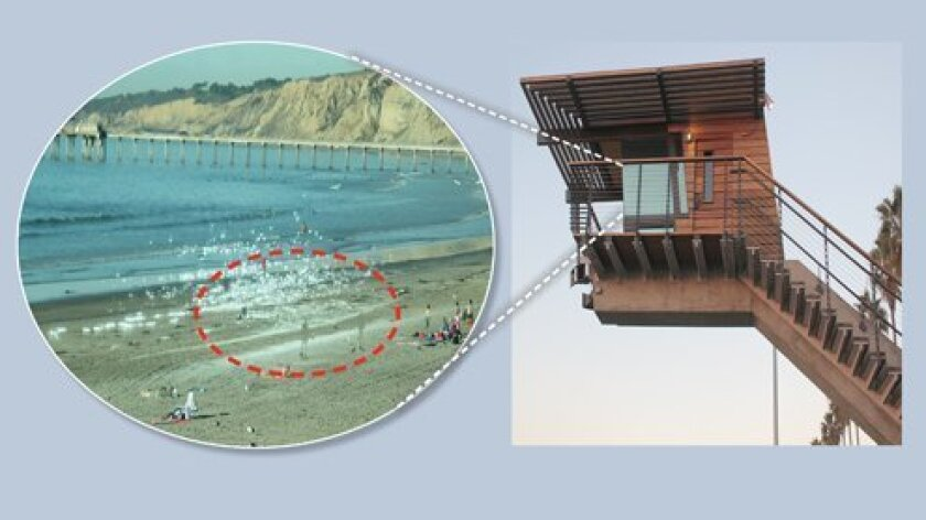 The ghost image of people and white spots (circled in red), as well as the sun's glare (both from the south side of the beach), are projected onto the northernmost glass of La Jolla Shores' new lifeguard tower in late afternoon. Lifeguards say this effect makes it difficult to accurately assess the situation in the water. (Photos by Pat Sherman)