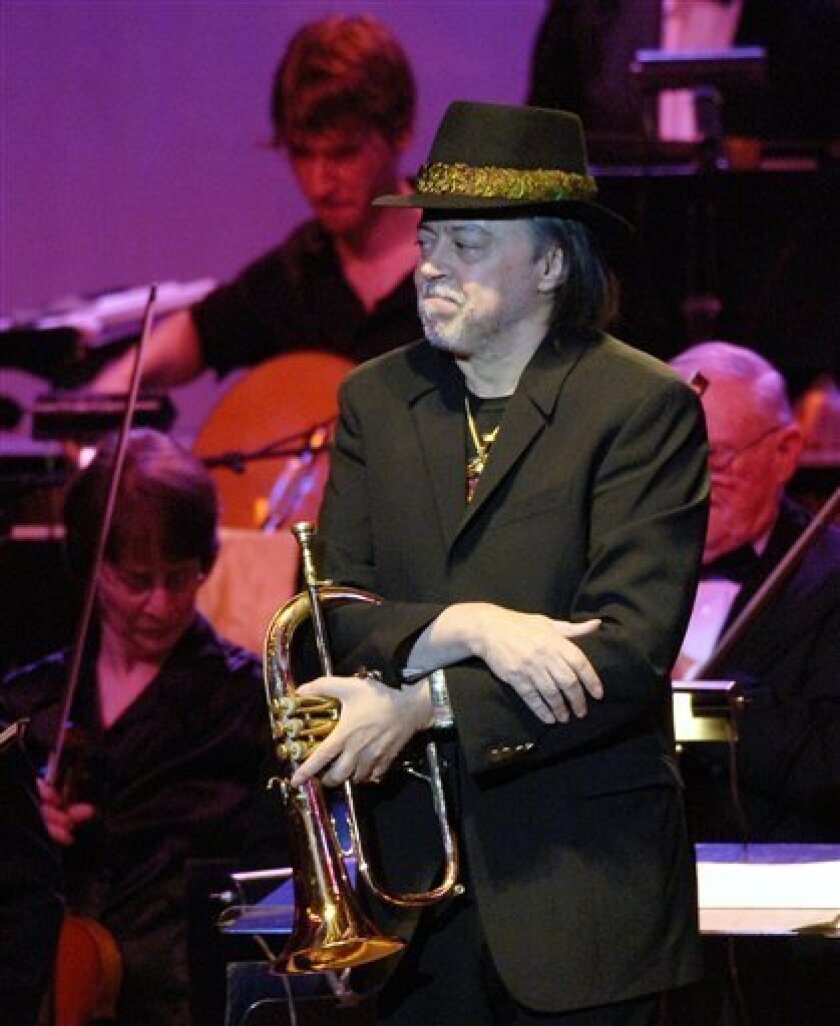 Chuck Mangione stands on stage with the Buffalo Philharmonic Orchestra at Kleinhans Music Hall in Buffalo, N.Y. on Friday, May 1, 2009. Mangione's concert was rescheduled after he lost two members of his band in the Flight 3407 plane crash in Clarence Center, N.Y. (AP Photo/Don Heupel)