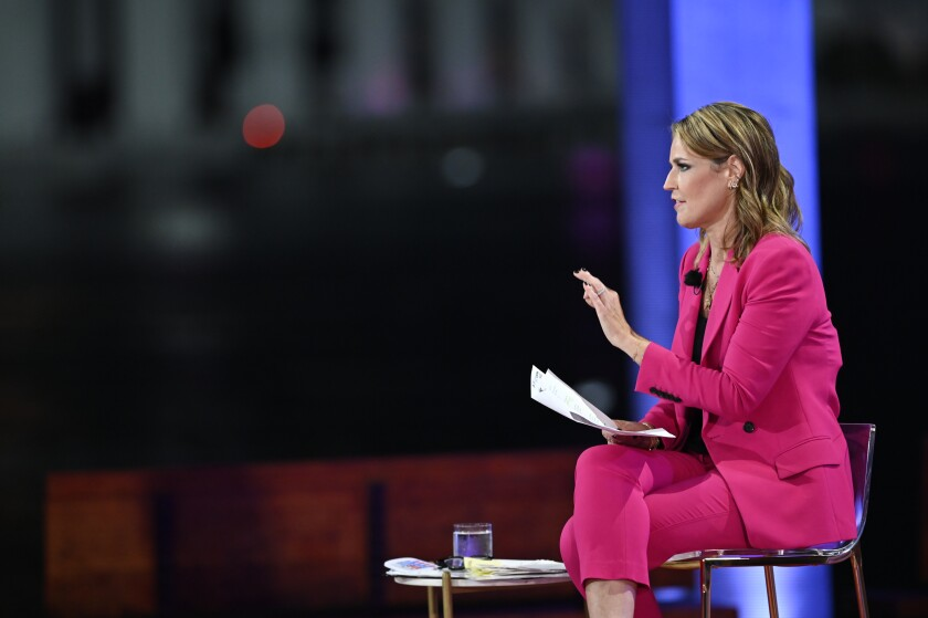 """""""Today"""" co-anchor Savannah Guthrie moderates NBC's town hall with President Trump in Miami on Thursday."""