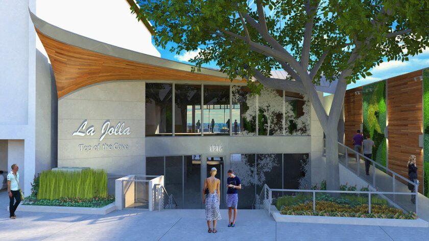 A rendering of the exterior makeover of the former Top of the Cove, which will become a Duke's restaurant.