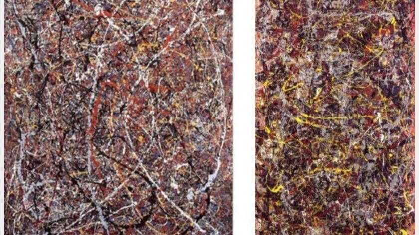 Teri Horton's painting placed next to Number 5 Pollock painting. Artfcity.com