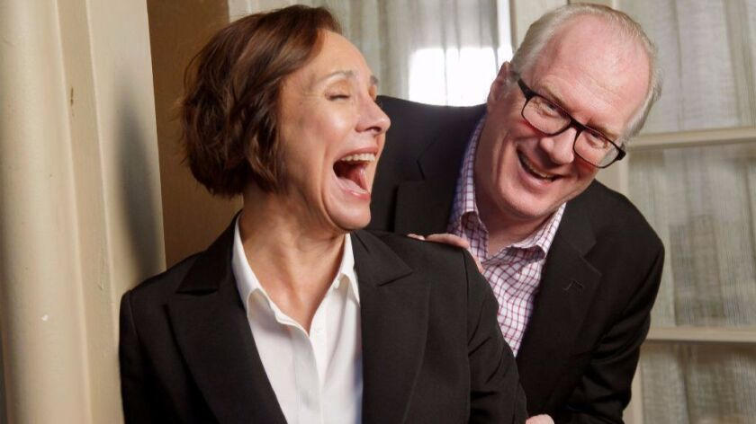 """Actress Laurie Metcalf and writer and actor Tracy Letts for a feature on Greta Gerwig's directorial debut """"Lady Bird,"""" opening Friday, in which they play the parents of a feisty teenager (Saoirse Ronan)."""