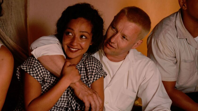 "Ruth Negga as Mildred, and Joel Edgerton as Richard in ""Loving."""
