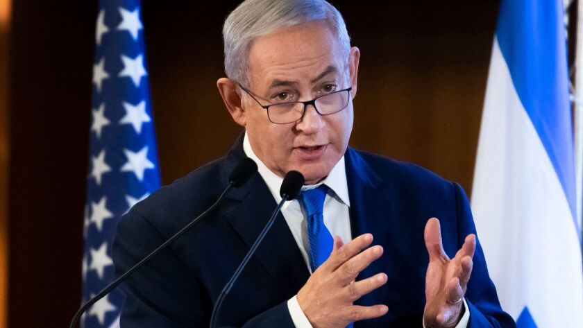 Israeli Prime Minister Benjamin Netanyahu addresses a conference of American Jewish leaders in Jerusalem on Monday.