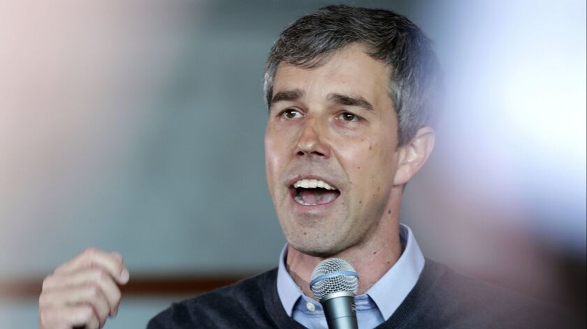 Democratic presidential candidate Beto O'Rourke visits Cargo Coffee on East Washington Avenue during