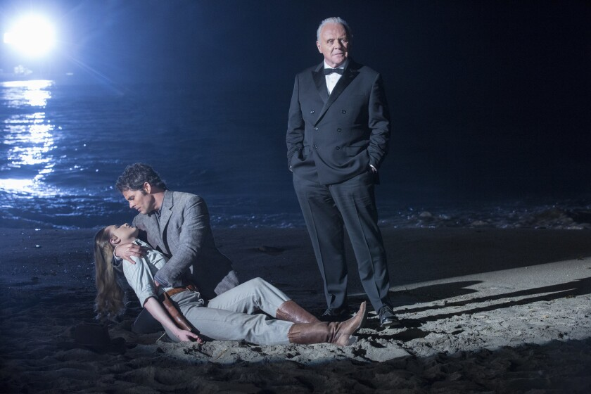 """From left, Evan Rachel Wood as Dolores Abernathy, James Marsden as Teddy Flood and Anthony Hopkins as Dr. Robert Ford in the season finale of HBO's """"Westworld."""""""