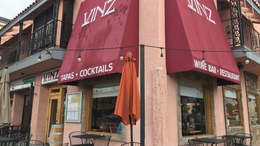 Vinz Wine Bar in Escondido on closing day, Jan. 14. Owners Vinnie and Machelle Griffin closed the business and an adjacent restaurant, Continental Deli, over the past few days.