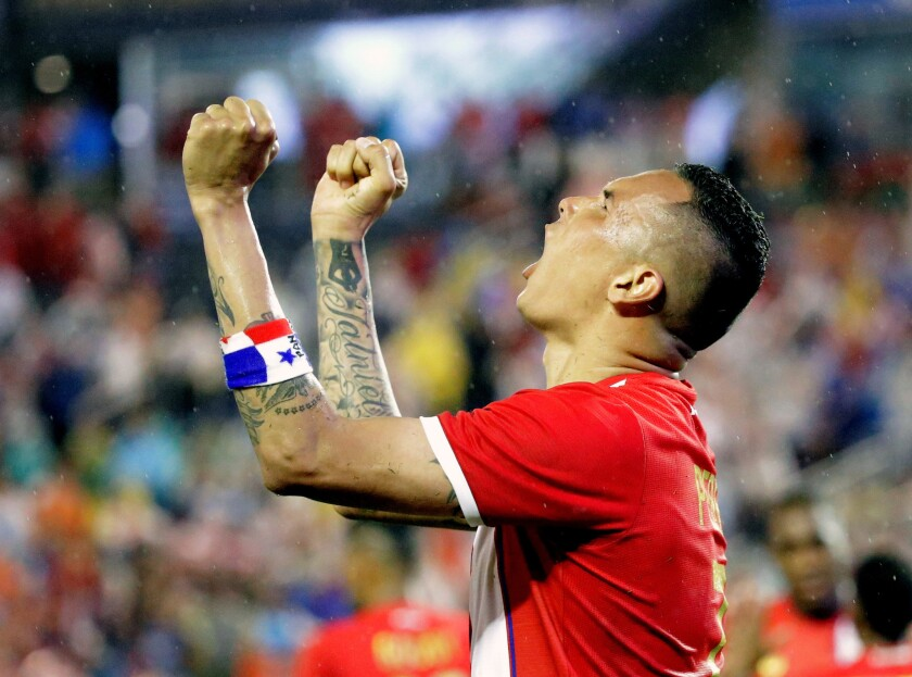 Panama's Blas Perez celebrates his game-winning goal against Bolivia during the second half of a Copa America group D match on June 6.