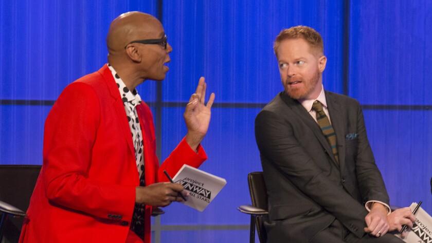 "RuPaul, left, Jesse Tyler Ferguson and Isaac Mizrahi in ""Project Runway All Stars"" on Lifetime."