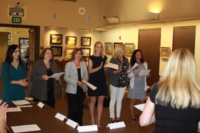 Xochitl Cerda, Laurnie Durisoe, Lori Bolton, Alisha Frank, Jamie Dickerson and Carla Parra are sworn in as new LJVMA members. Not pictured: Tiffany Phillips.