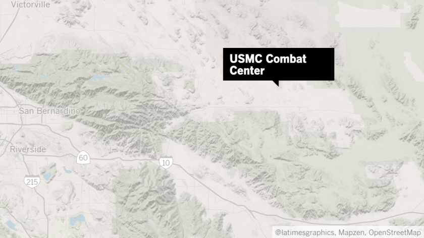 Map shows approximate location of the Marine Corps Air Ground Combat Center in Twentynine Palms.