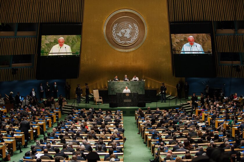 Pope Francis delivers an address to the General Assembly of the United Nations on September 25, 2015 in New York City.