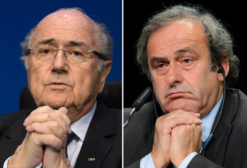 FIFA President Sepp Blatter in Zurich on May 30, left, and UEFA chief Michel Platini in Zurich on May 28.