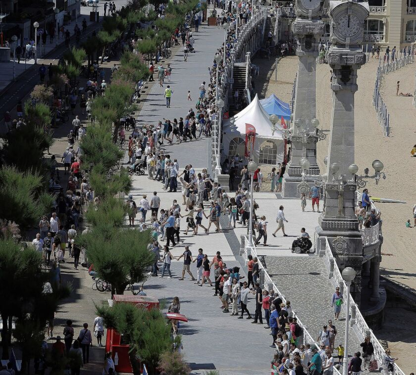 human chain in favour of the right to decide on independence, San Sebastian, Spain - 10 Jun 2018