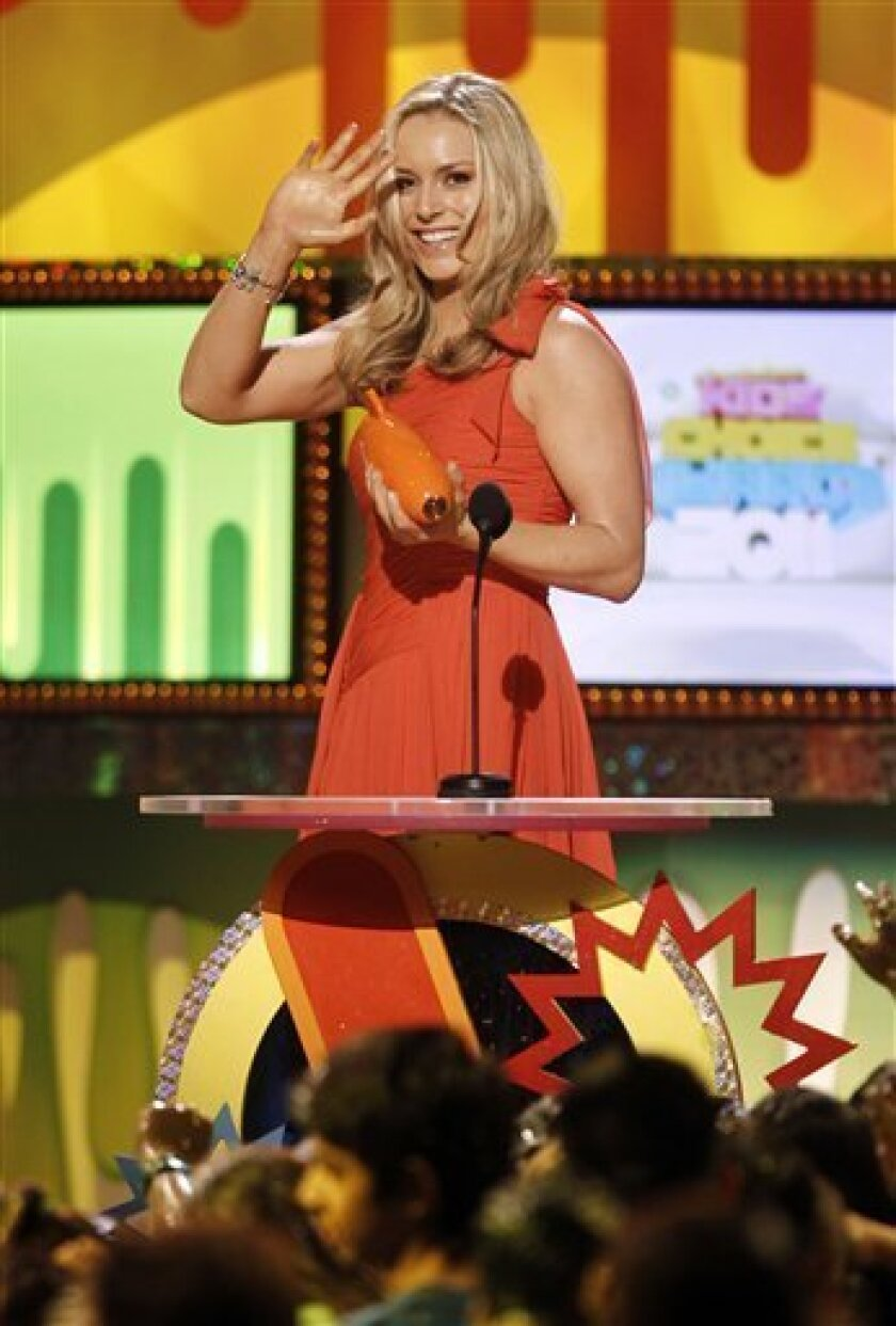 "Lindsey Vonn wins for ""Favorite Female Athlete"" at Nickelodeon's 24th Annual Kids' Choice Awards on Saturday, April 2, 2011, in Los Angeles. (AP Photo/Matt Sayles)"