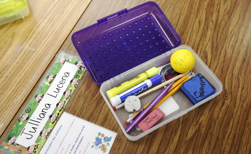 A pencil box left by a student before Cerritos Elementary in Glendale shut down.