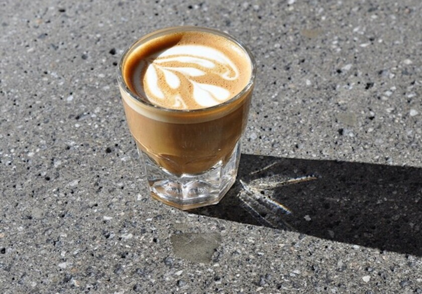 A cortado at G&B: The B is for Charles Babinski, who just came in second in the World Barista Championship.
