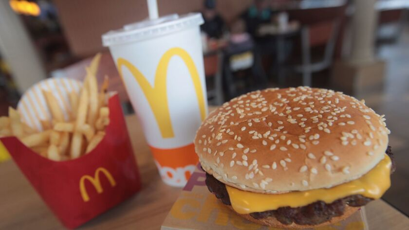 EFFINGHAM, IL - MARCH 30: A Quarter Pounder hamburger is served at a McDonald's restaurant on March
