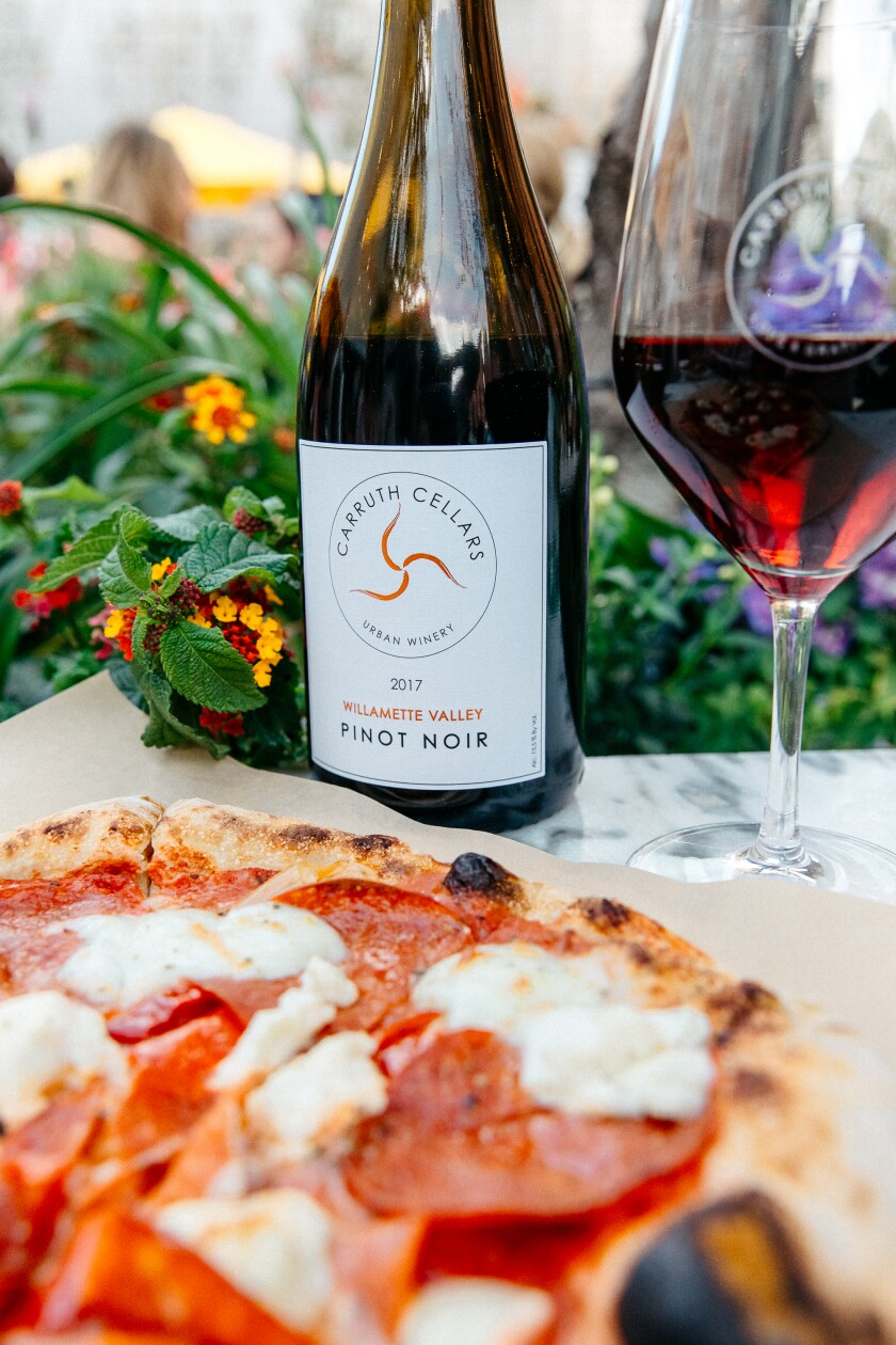 Wine served with wood fired pizza.