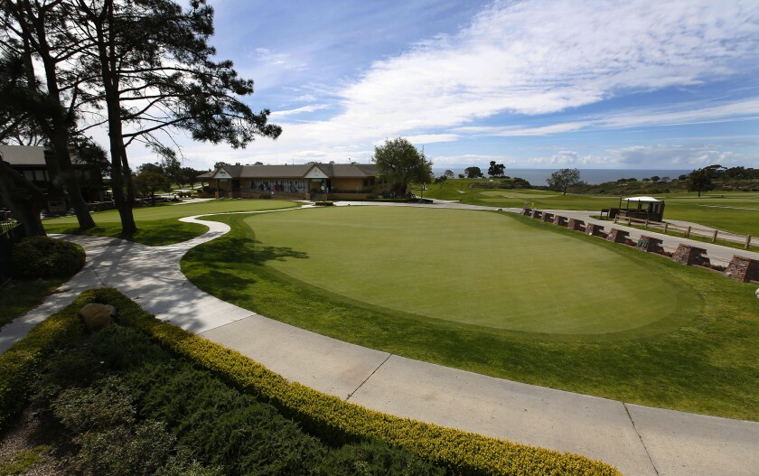 The practice greens at the Torrey Pines Golf Course have been empty for several weeks.