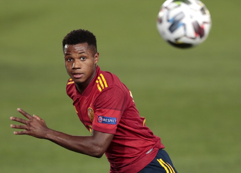 Spain's Ansu Fati watches the ball during the UEFA Nations League soccer match between Spain and Ukraine at the Estadio Alfredo Di Stefano stadium in Madrid, Spain, Sunday, Sept. 6, 2020. (AP Photo/Bernat Armangue)