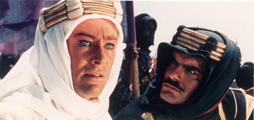 """Peter O'Toole and Omar Sharif in """"Lawrence of Arabia"""""""