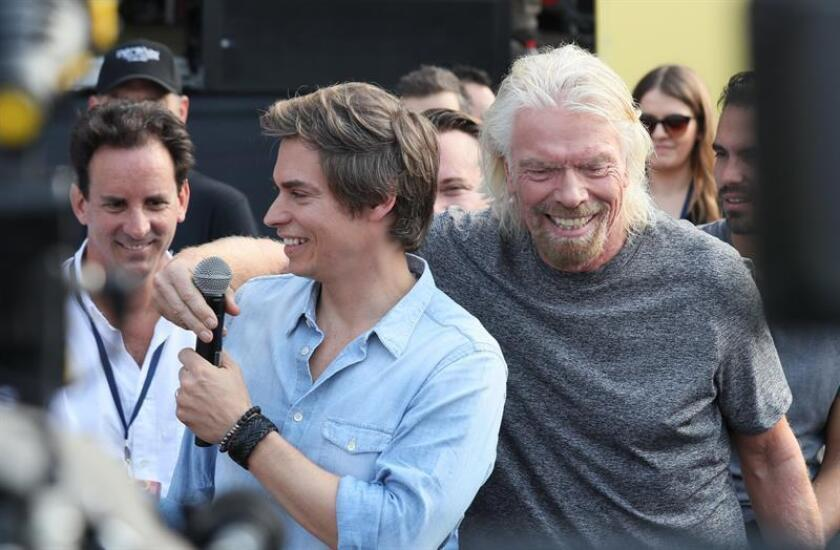 The magnate and organizer of the event Richard Branson (right) and CVenezuelan singer Carlos Baute (left) speak at a press conference before the Venezuela Aid Live concert on Feb. 22, 2019, in Cucuta, Colombia. EPA-EFE / Mauricio Dueñas Castaneda