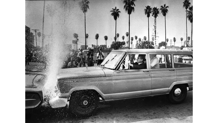Sept. 12, 1967: A soft cushion bumper filled with water absorbs the impact of a car traveling 20 mph hitting a stationary car during a demonstration in Van Nuys.
