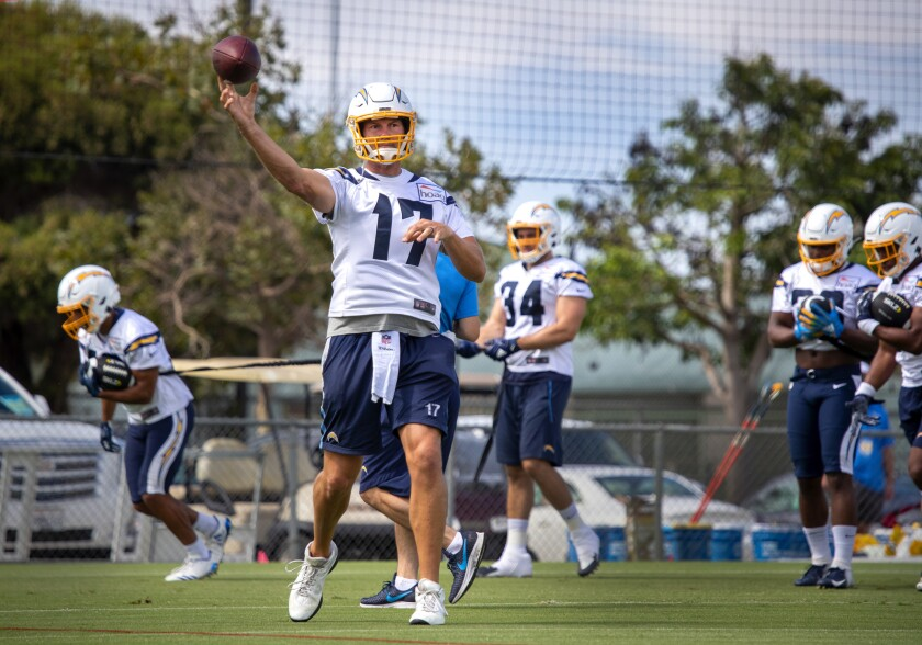 Quarterback Philip Rivers at a 2019 Los Angeles Chargers practice at Jack R. Hammett Sports Complex in Costa Mesa.