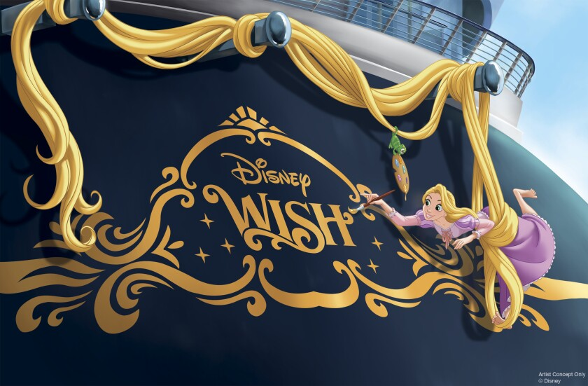 Rapunzel will be on the bow of the new Disney Wish cruise ship, as shown in this artist's rendering.