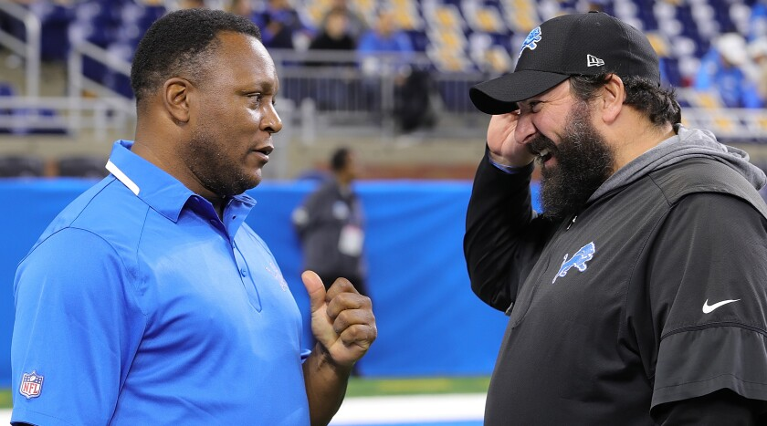 Barry Sanders, left, and Detroit Lions coach Matt Patricia at Ford Field in November.