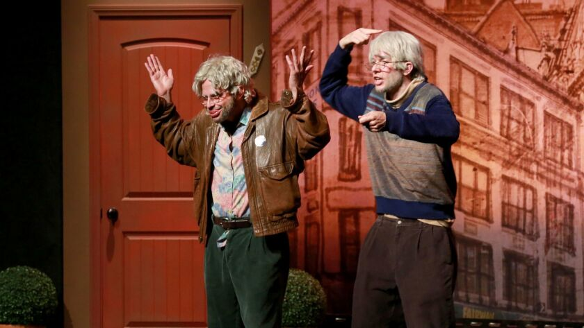 """Nick Kroll, left, and John Mulaney perform """"Oh Hello"""" in Los Angeles in March, before taking the show to New York."""