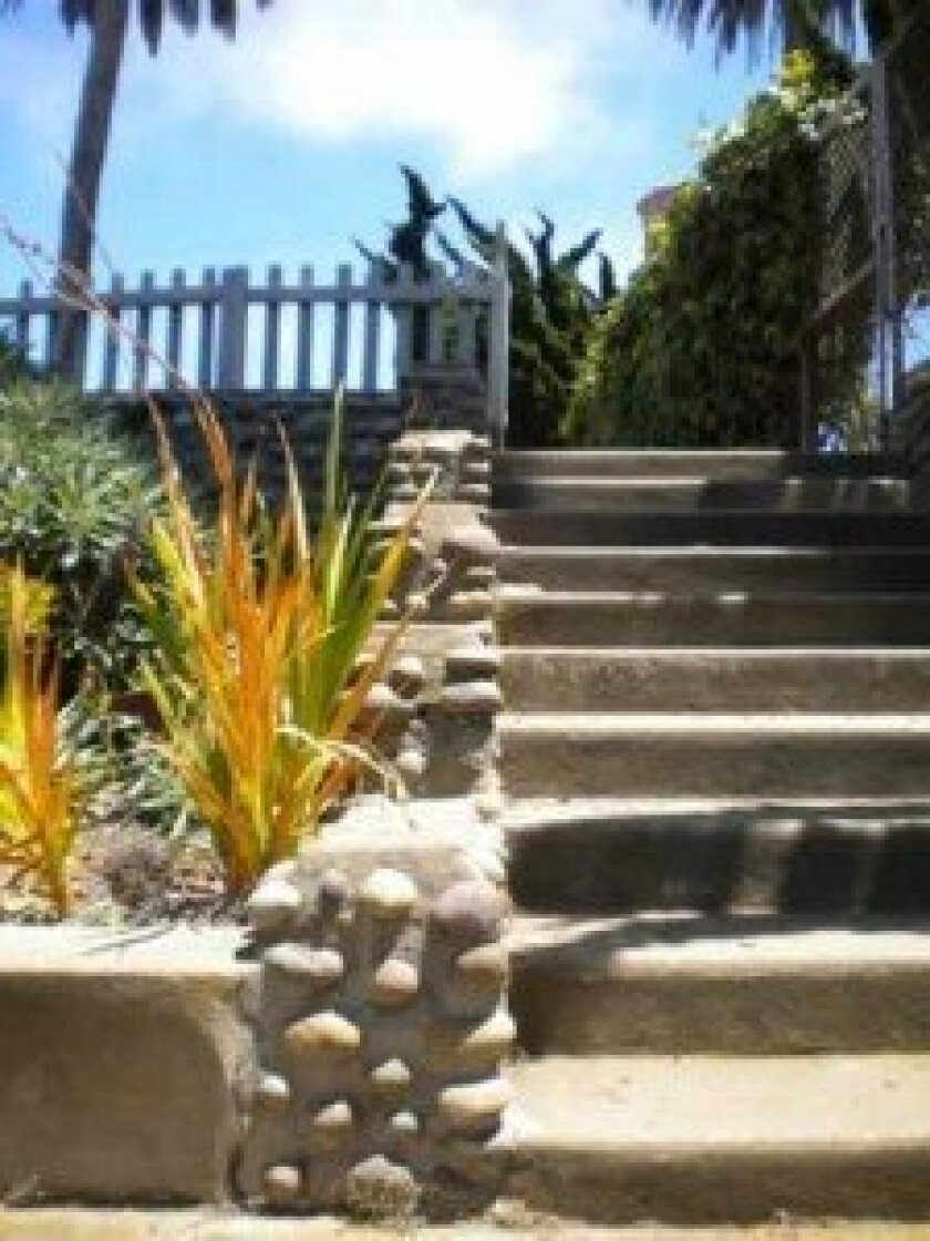 Mortar and rock add charm to the stair path.