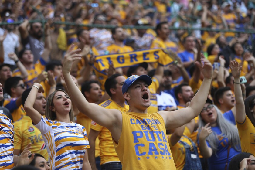 Fans of Tigres cheer for their team before the final Mexico soccer league championship match against Leon in Leon, Mexico, Sunday, Nov. 26, 2019. (AP Photo/Refugio Ruiz)