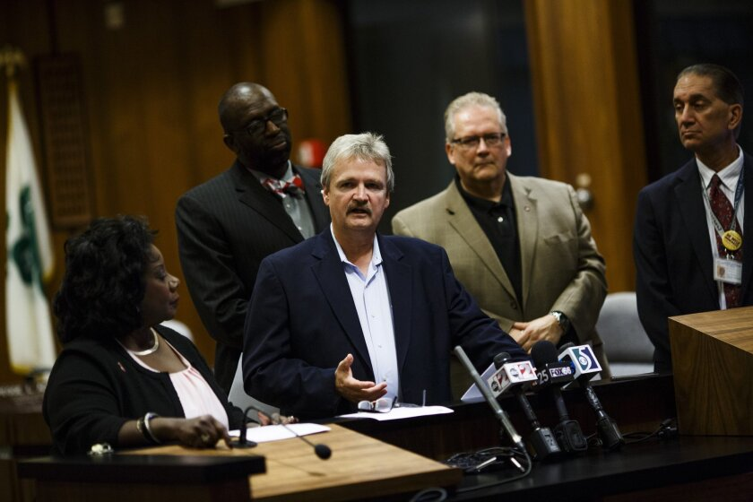 Genesee County Commissioner Jamie Curtis speaks during a press conference at the Genesee County Administration Building in Flint, Mich., on Thursday Oct. 1, 2015. (Christian Randolph/The Flint Journal-MLive.com via AP)