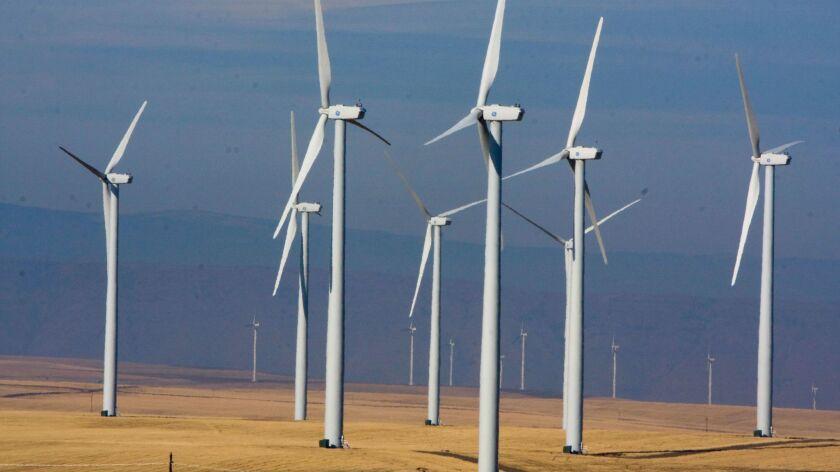 Wind turbines dot the landscape east of Wasco, Ore. on Oct. 29, 2008.