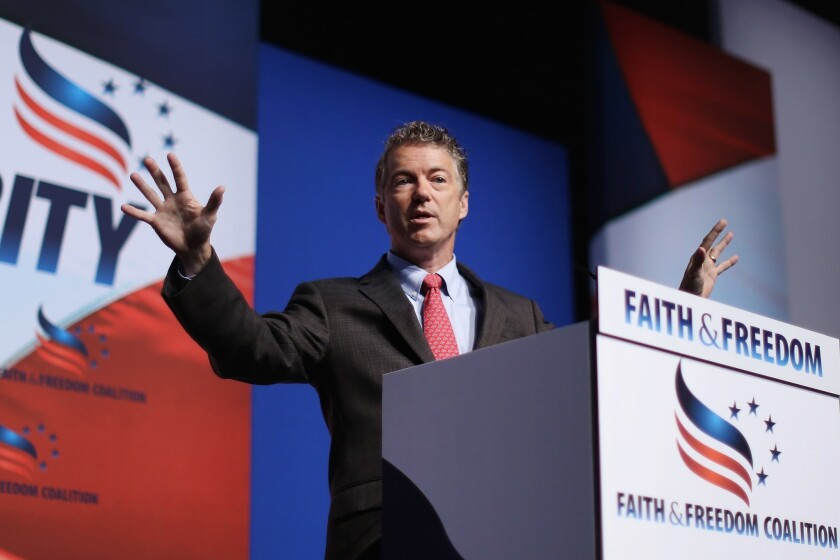 Sen. Rand Paul (R-Ky.), shown at a conference in Washington, D.C., spent some time in Silicon Valley arguing that the free-market solutions flowing out of the area are proof of the good that can happen when government gets out of the way.