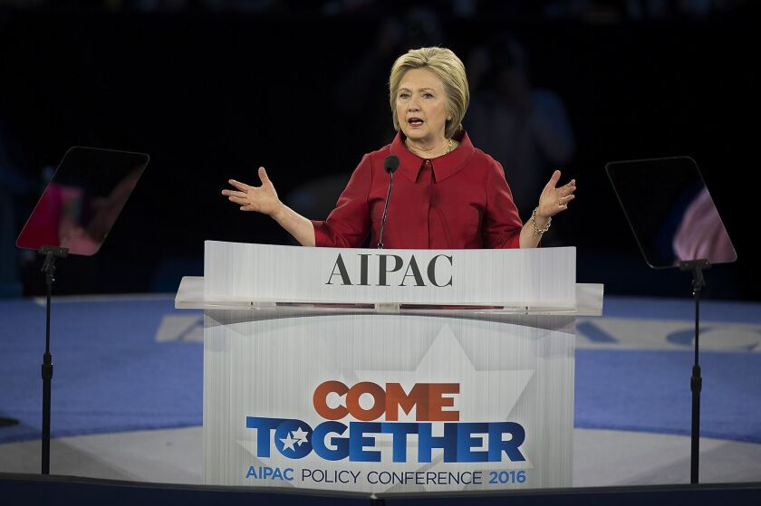 Democratic presidential candidate Hillary Clinton speaks during the AIPAC Policy Conference in Washington on Monday.