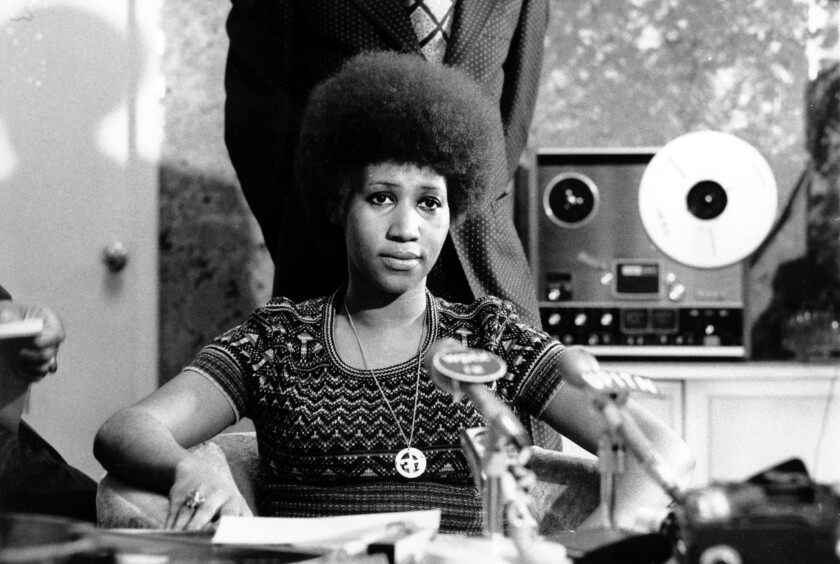 Soul singer Aretha Franklin is shown at a news conference.