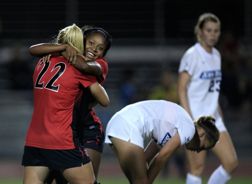 SAN DIEGO, CA-SEPTEMBER 17, 2015:  Aztec midfielder #3 (right) Milan Moses congratulates forward #22 Leah Pruitt after scoring against the Toreros Thursday. SDSU beat USD 3-4 Thursday. (Misael Virgen / San Diego Union-Tribune)