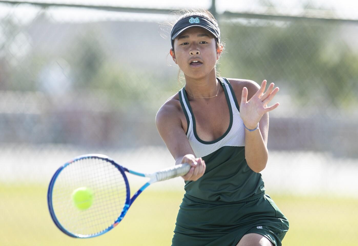 Photo Gallery: Costa Mesa vs. Calvary Chapel in girls' tennis