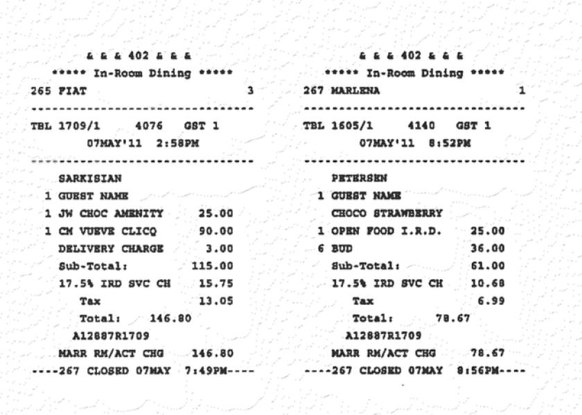 JW Marriott receipt