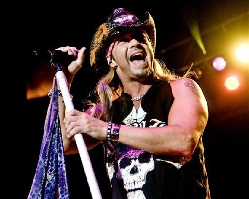 In this photo taken Saturday, May 29, 2010, Bret Michaels performs during a concert at the Rib America Festival at Soldier's Memorial in St. Louis, Mo. (AP Photo/St. Louis Post-Dispatch, Sarah Conard)