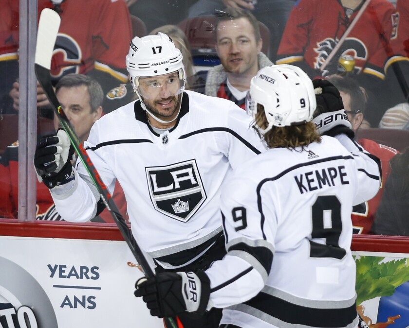 Kings' Ilya Kovalchuk, left, celebrates his goal with Adrian Kempe during the second period against the Calgary Flames on Tuesday in Calgary, Canada.